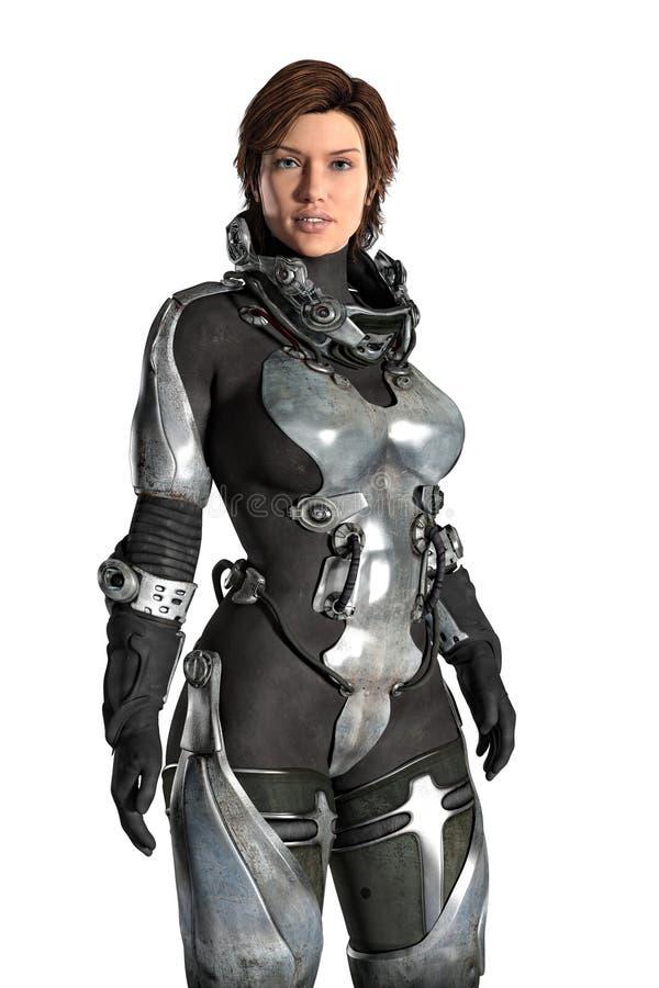 Female Futuristic Astronaut Isolated stock illustration
