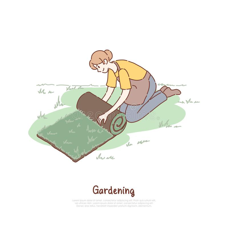 Female gardener in apron, young woman with fresh green roll, lawn installation, landscaping, gardening banner. Woman unrolling artificial grass concept cartoon royalty free illustration