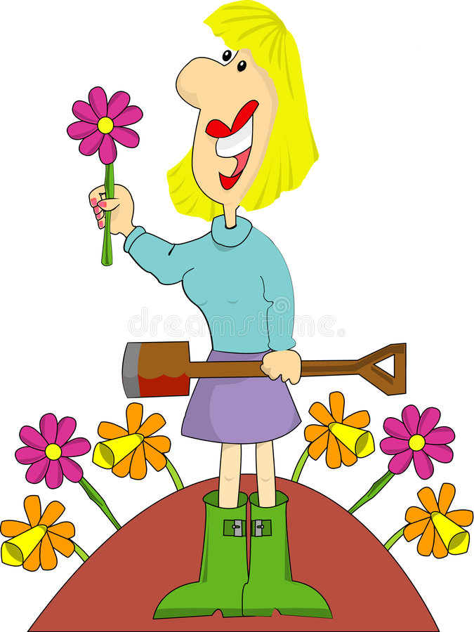 Download Female Gardener With Flowers Stock Illustration - Image: 8102410