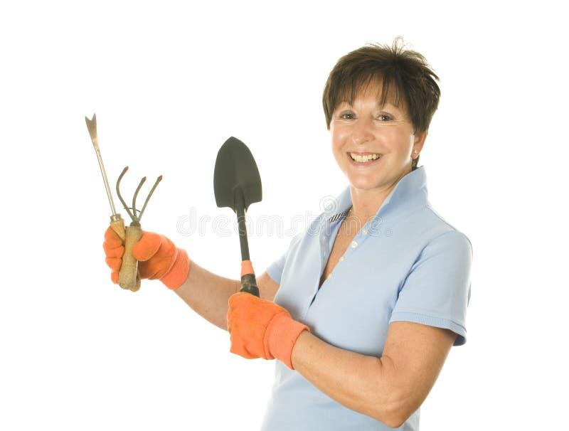 Female gardener gardening tools