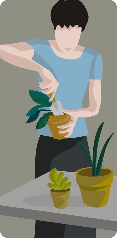 Female Gardener Illustration royalty free illustration