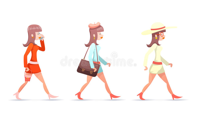Female Geek Hipster Girl Vintage Woman Character Walk Mobile Phone Bag Case Icons Set Isolated Retro Cartoon Design. Female Geek Hipster Girl Vintage Woman stock illustration