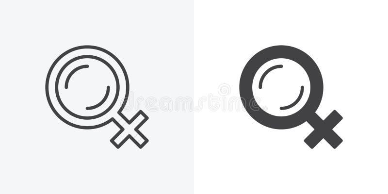 Female gender icon stock illustration