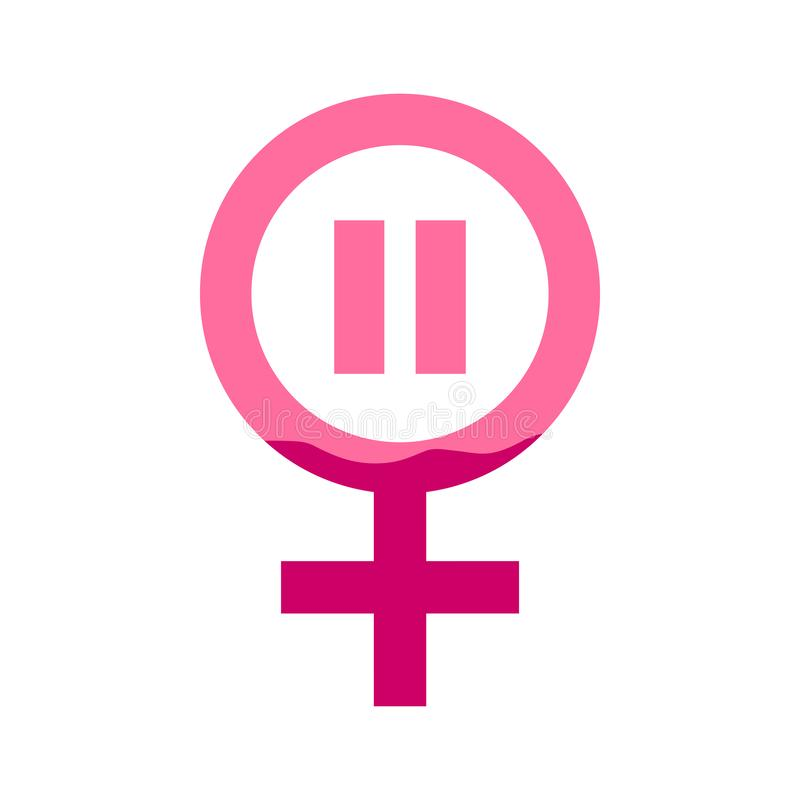 Female gender icon with pause and blood in pink color. Concept of menstruation period, pregnancy or menopause. Vector illustration in flat style royalty free illustration