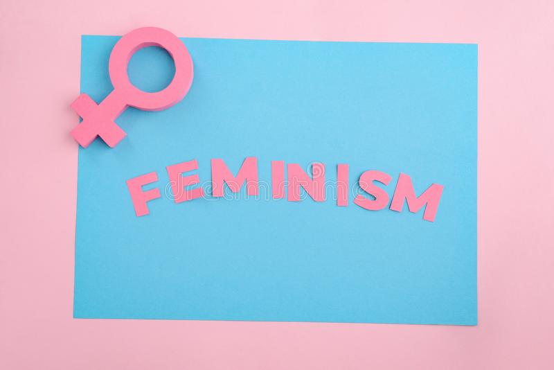 Female gender sign and Feminism stock photo