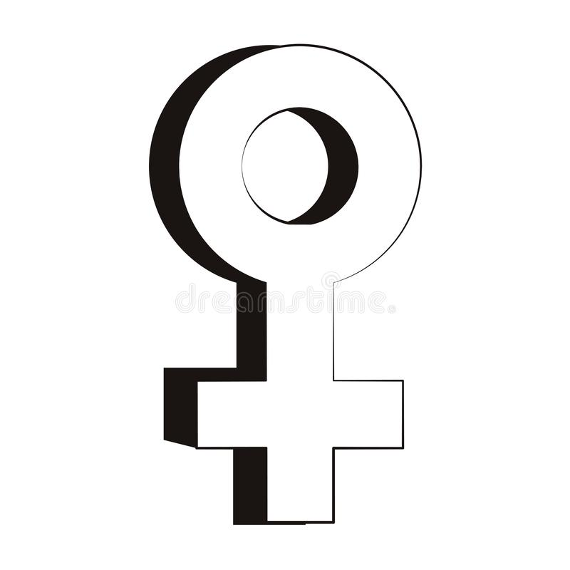 Female gender symbol in black and white royalty free illustration