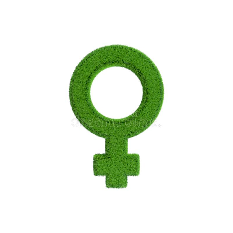 Female gender symbol from grass.3D rendering illustration stock illustration