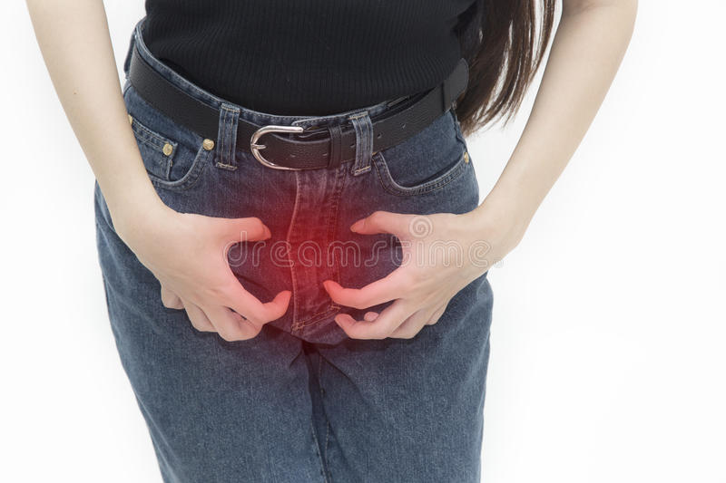 Female genital itching. Her female genital itching caused by the purchase of the stinky clothes, woman are scratching the vagina, itching crotch, body problem royalty free stock photo