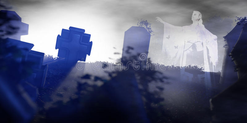 Download Female Ghost On An Old Graveyard At Night Stock Image - Image: 61789827