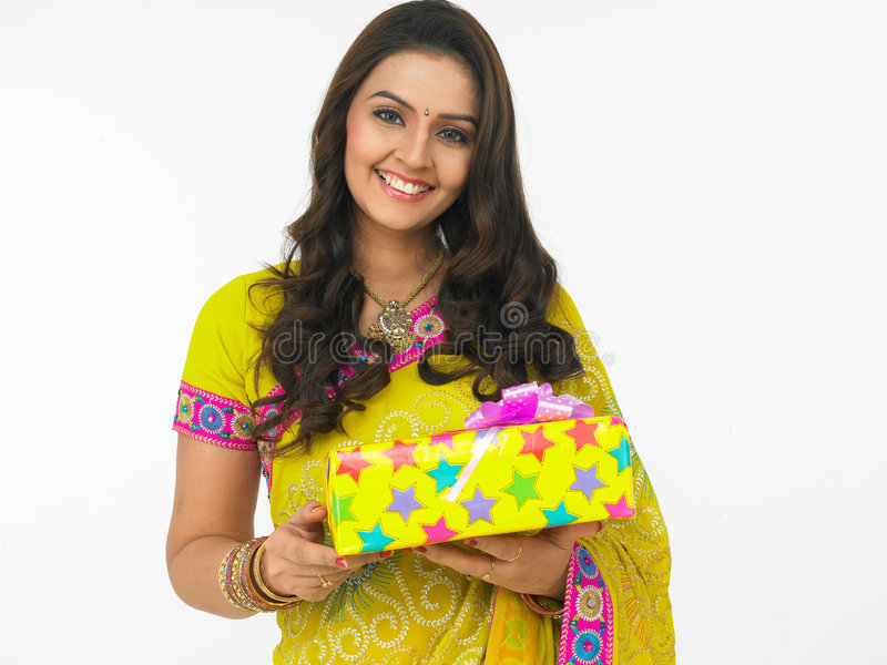 Download Female with gift boxes stock image. Image of holiday, glass - 6910949