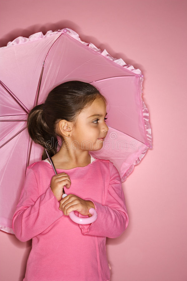 Download Female girl with umbrella. stock image. Image of indoors - 2045869