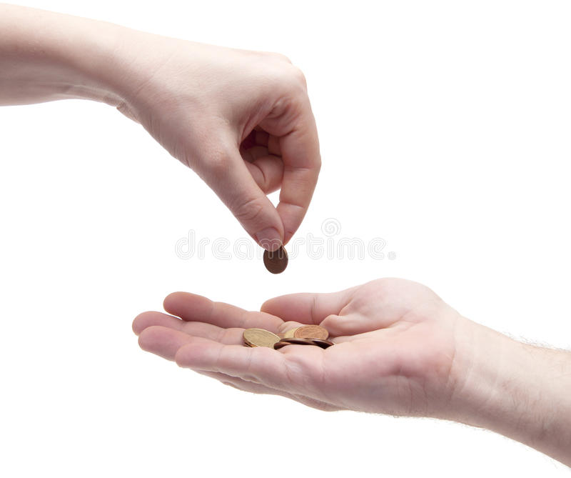 Female Giving Coin To Another Person Royalty Free Stock Image