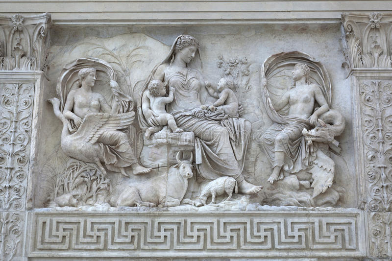 Female Goddess on Ara Pacis, Rome. Relief of female Goddess with Twins on the Ara Pacis Altar of Augustan Peace in Rome, Italy stock images