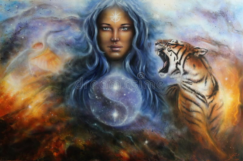 The female goddess Lada in spacial surroundings with a tiger and a heron. A beautiful oil painting of a female goddess lada in space with a tiger and a flying stock illustration