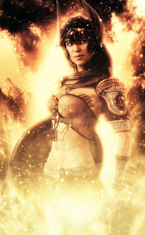 Female Goddess of war posing in fire . vector illustration