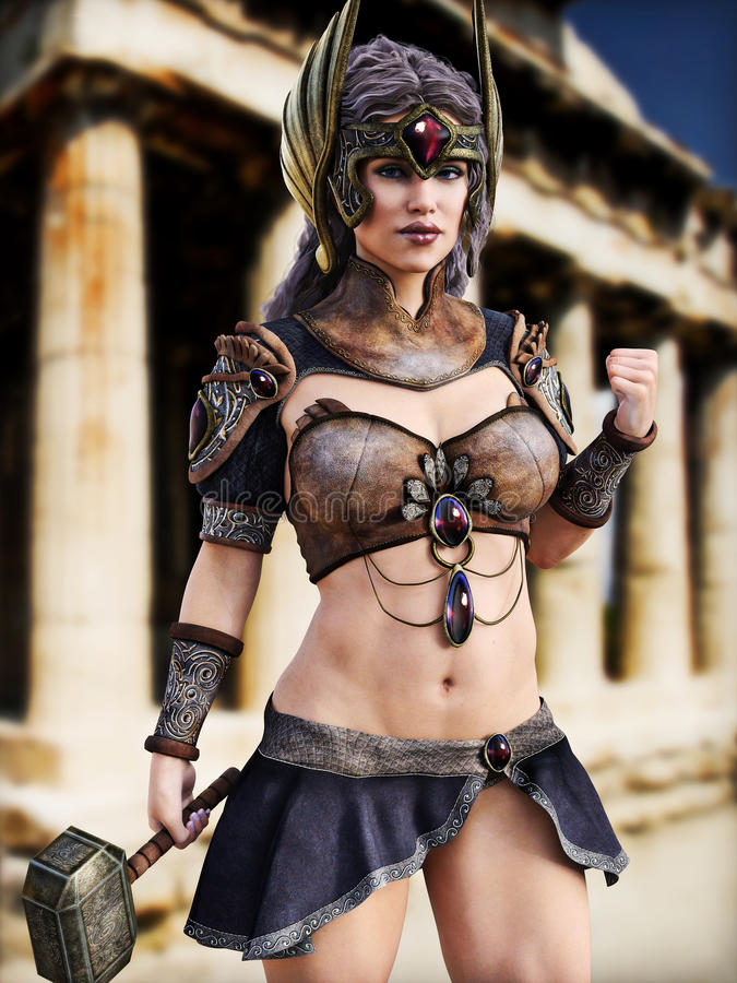 Female Goddess of war posing in front of Greek architecture royalty free illustration