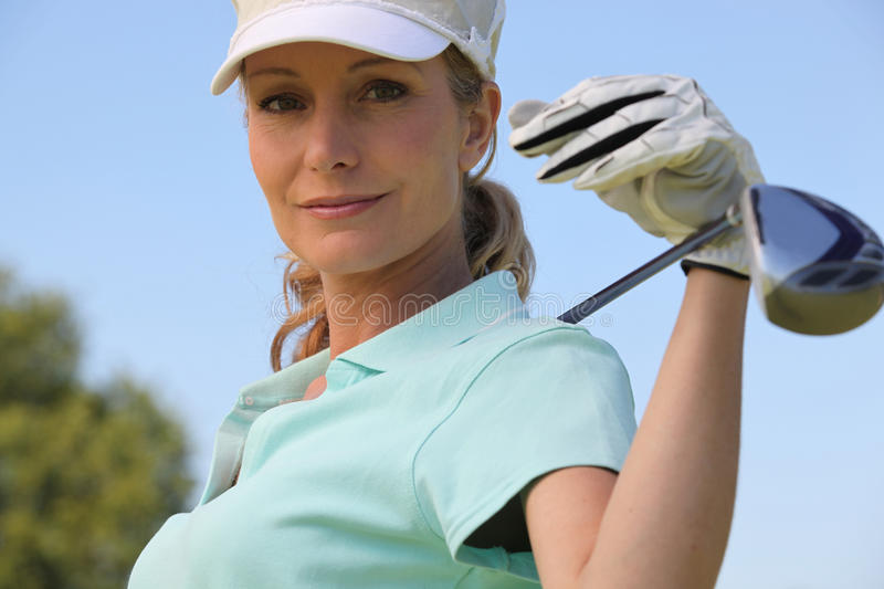 Download Female golf player stock photo. Image of caddy, iron - 26320218
