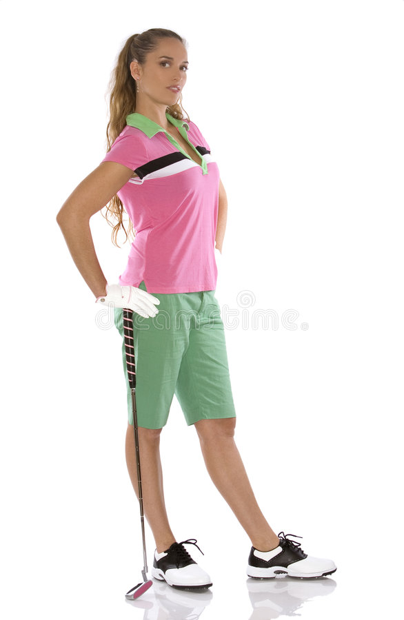 Female golfer. Pretty golf woman posing on white isolated background stock photo