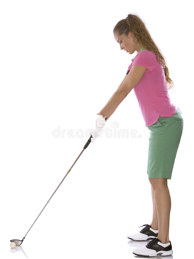 Female golfer. Pretty golf woman posing on white isolated background royalty free stock images