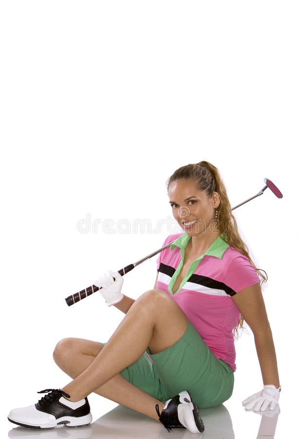 Female golfer. Pretty golf woman posing on white isolated background royalty free stock image