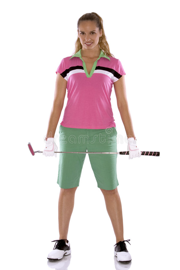 Female golfer. Pretty golf woman posing on white isolated background stock image
