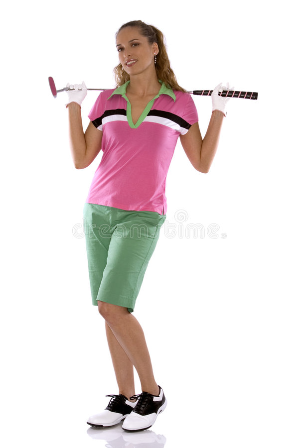 Female golfer. Pretty golf woman posing on white isolated background stock images