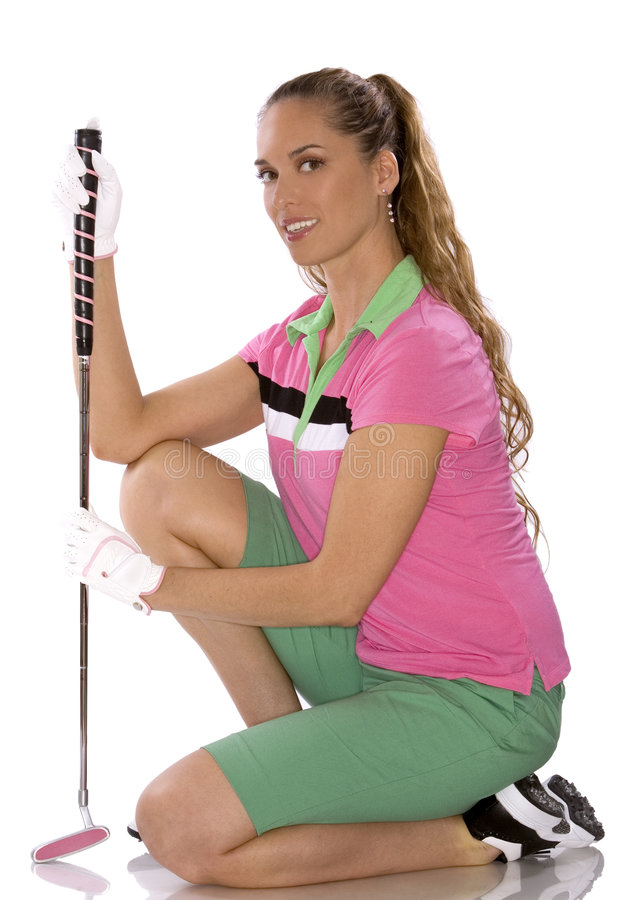 Female golfer. Pretty golf woman posing on white isolated background royalty free stock photos