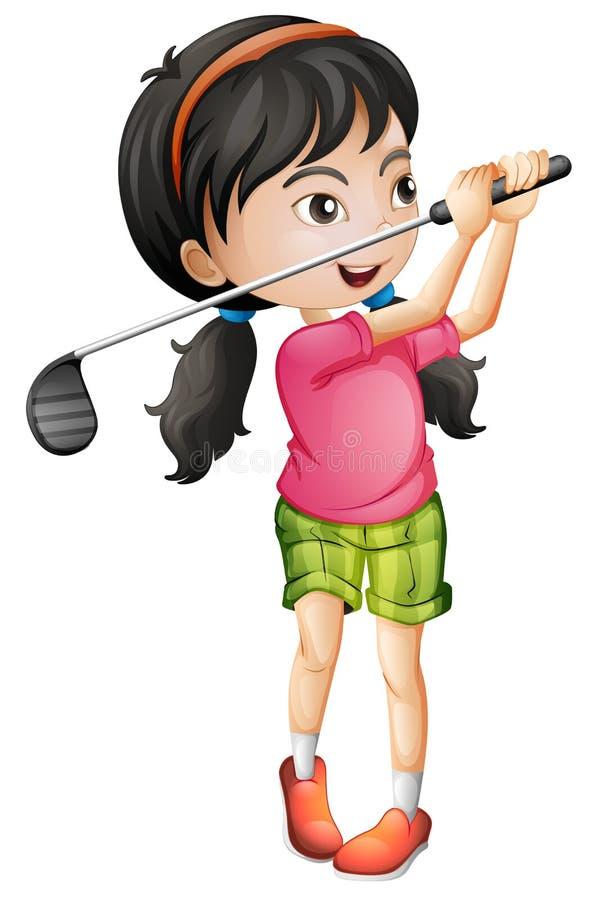 A female golfer character vector illustration