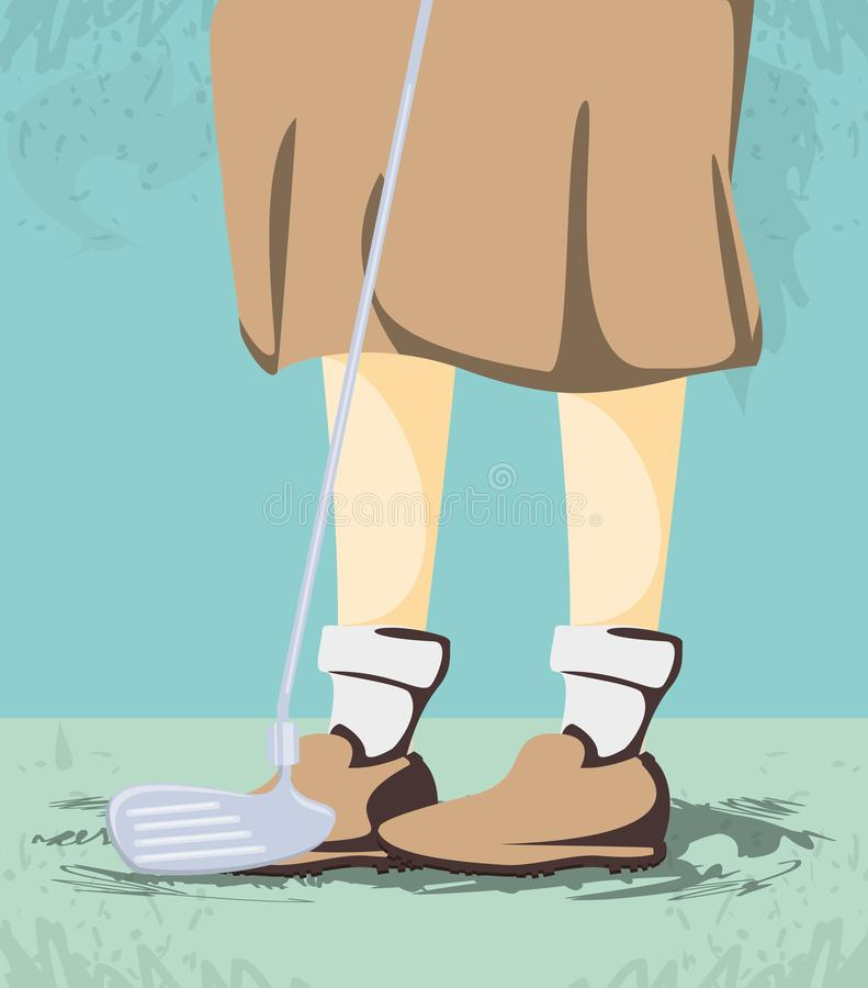 Female golfer feet on golf course stock illustration