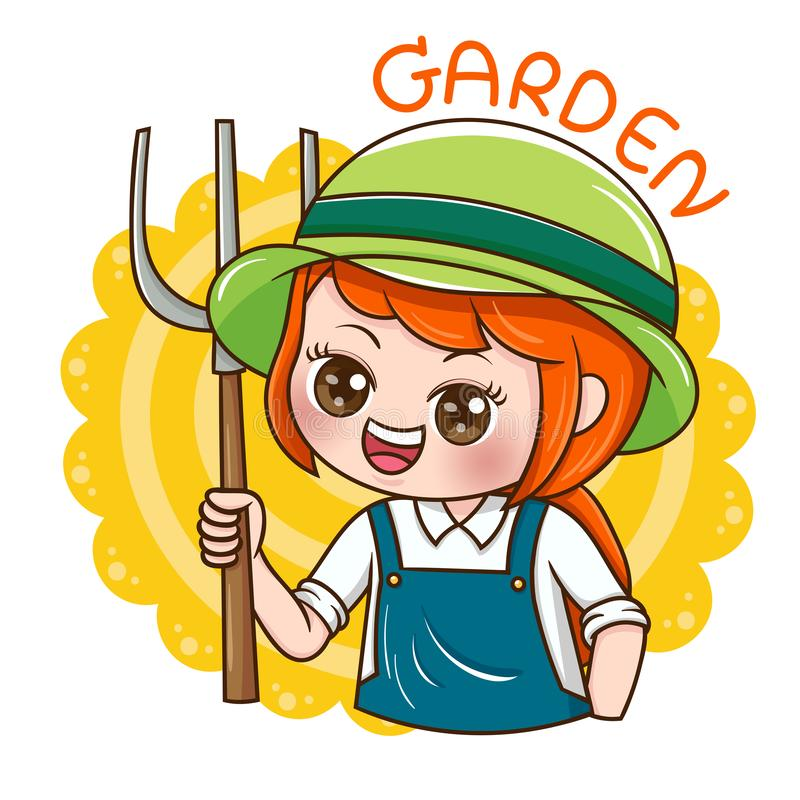Female_Gradener_vector ilustração stock