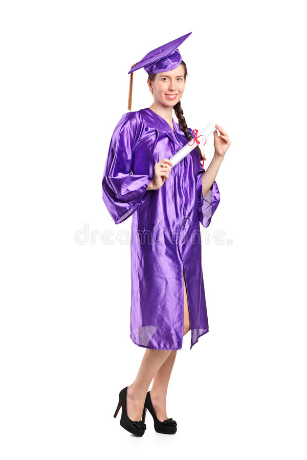 Female graduate student holding a diploma royalty free stock images