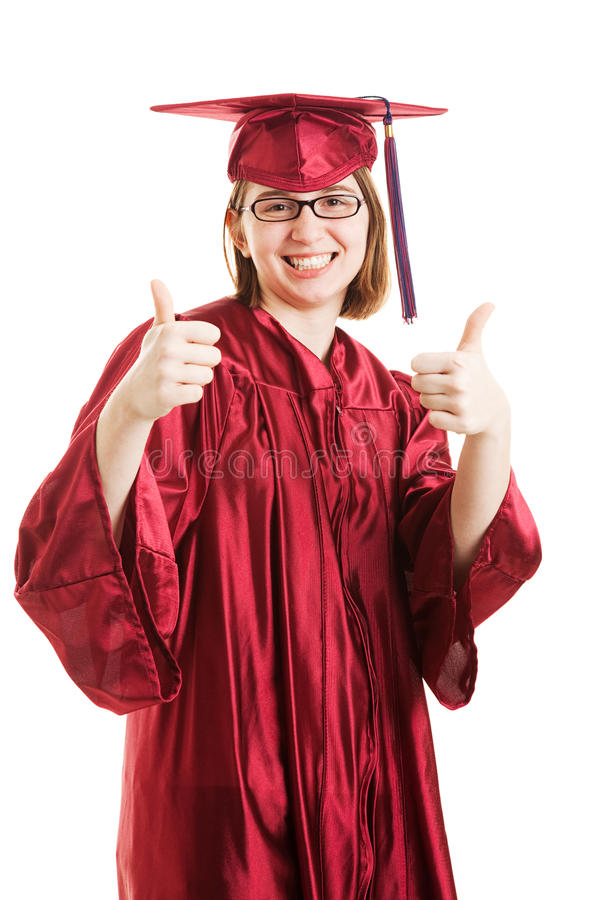 Female Graduate Thumbs Up stock image