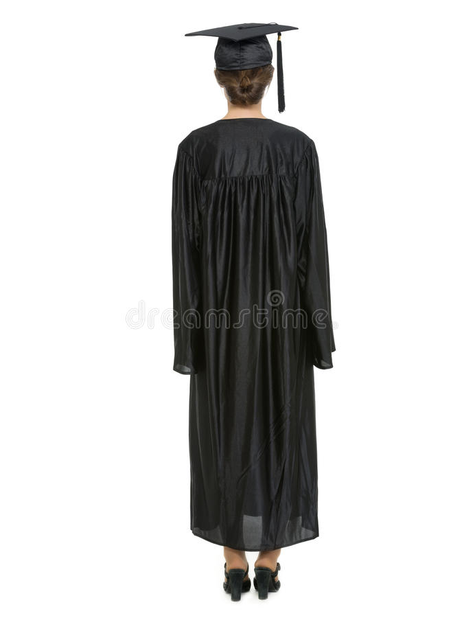 Download Female In Graduation Cap And Gown Standing Back Stock Image - Image: 24315325