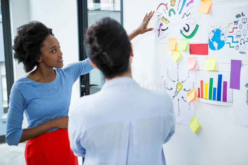 Female graphic designer giving presentation stock image
