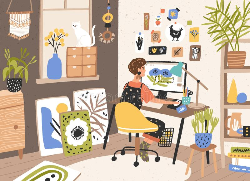 Female graphic designer, illustrator or freelance worker sitting at desk and work on computer at home. Creativity royalty free illustration