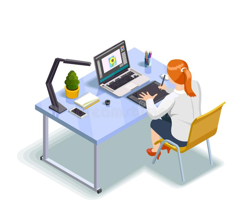 Graphic Designer Isometric Illustration royalty free illustration