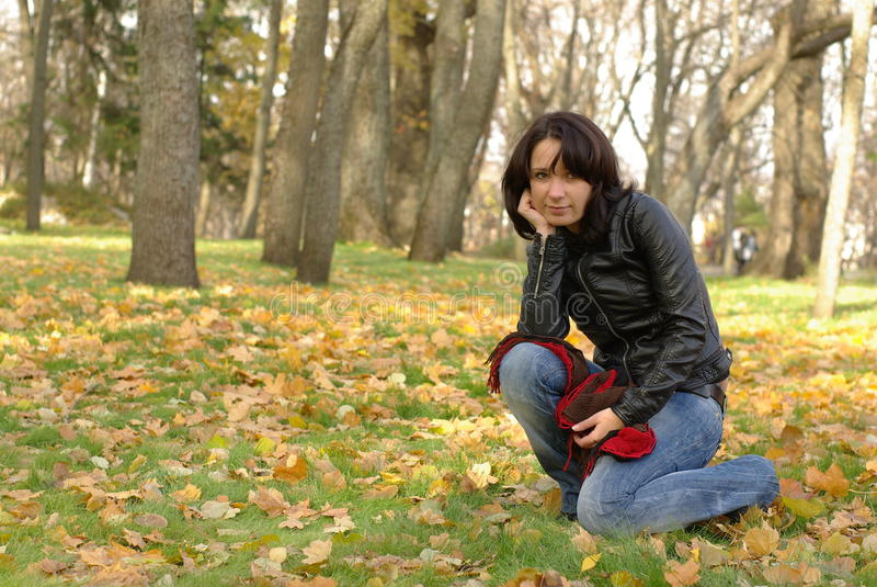 Download Female on grass stock photo. Image of beautiful, fall - 16837176
