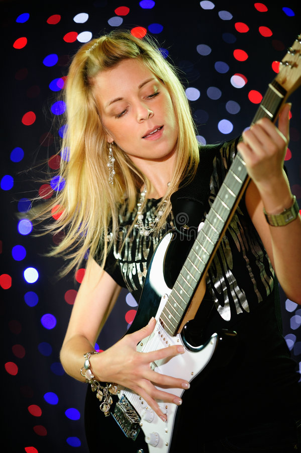 Download Female guitar player stock photo. Image of playing, happy - 7621476