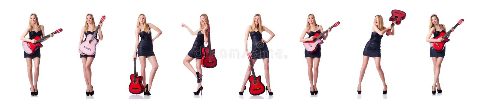 Female guitar player isolated on white stock image