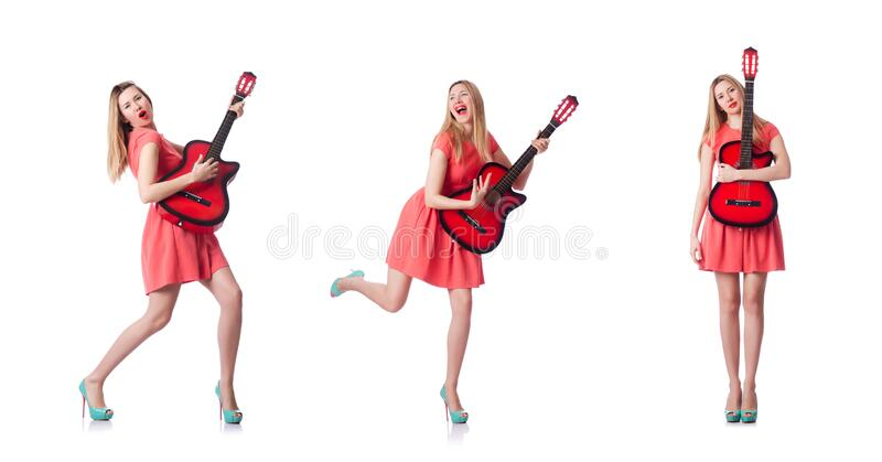 Female guitar player isolated on white stock photo