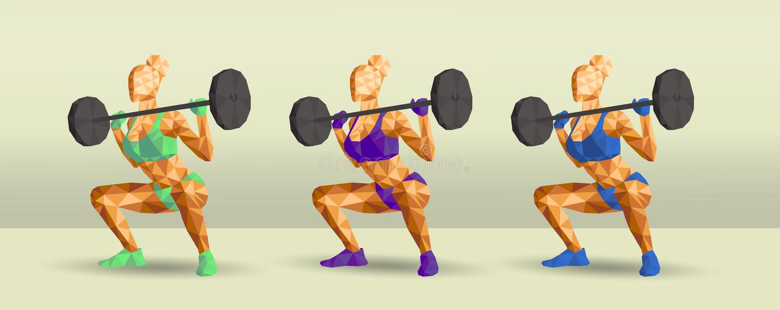 Female in gym doing squats new royalty free illustration