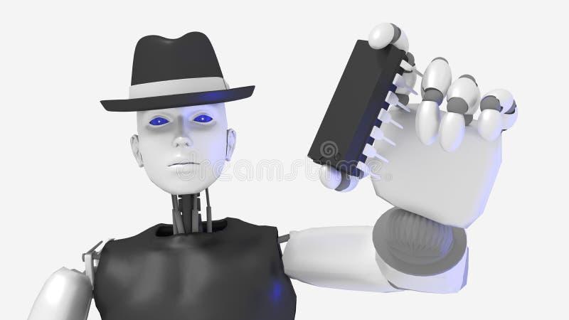 Female hacker black hat robot holding a chip stock illustration
