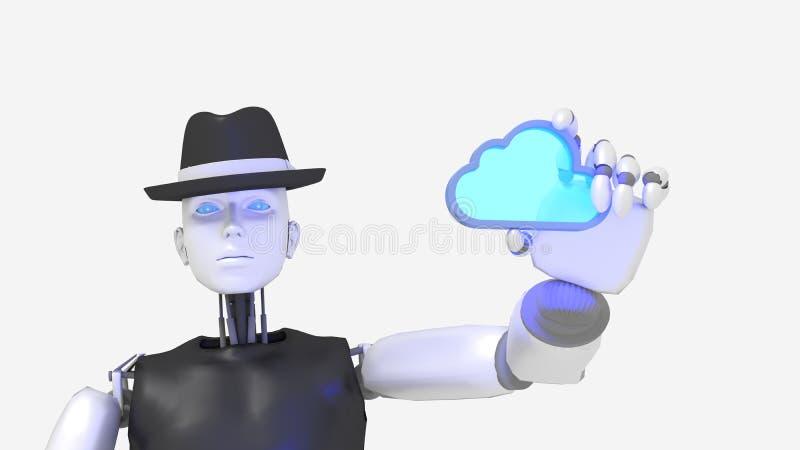 Female hacker black hat robot holding a glass cloud stock illustration