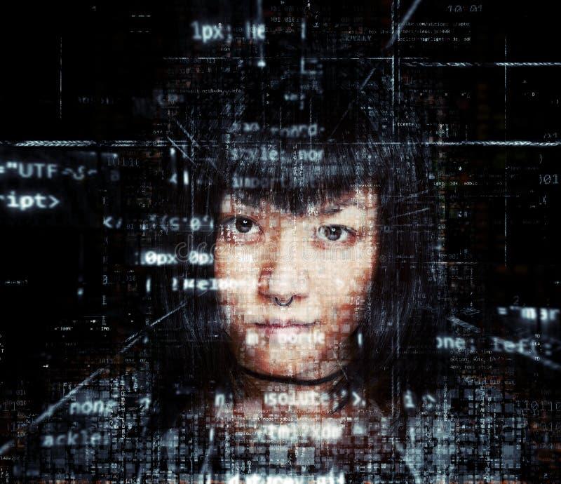 Female hacker vector illustration