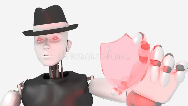 Female hacker robot holding a glass shield symbol vector illustration
