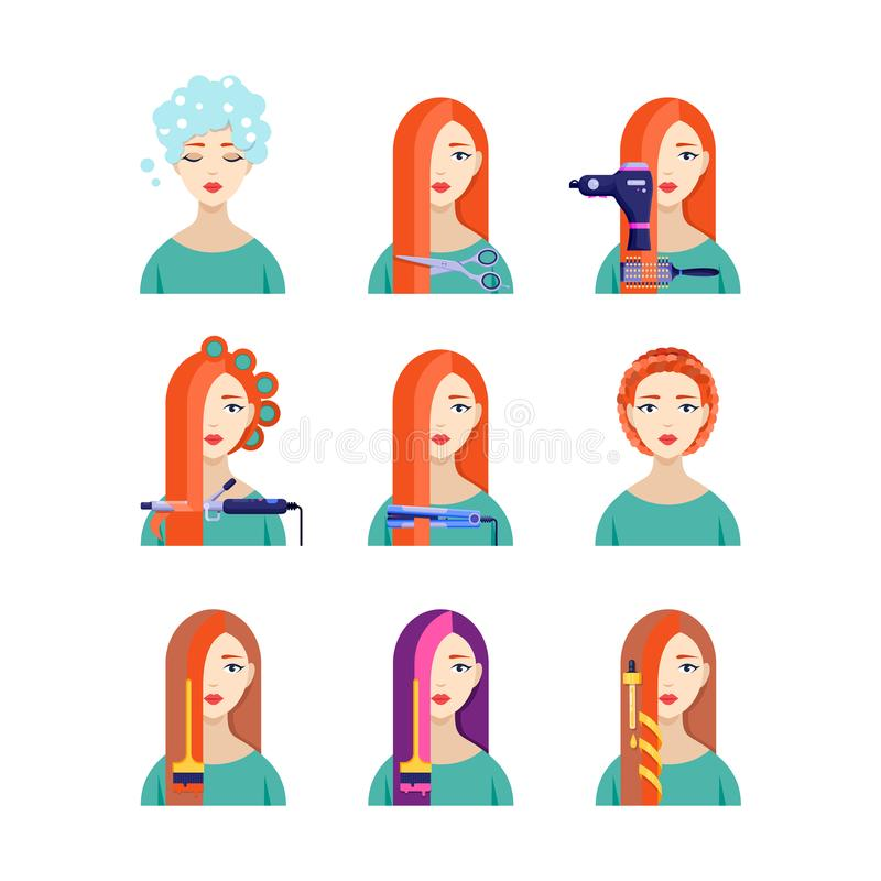 Female hair salon services, vector flat illustration. Beautiful woman in hairdressing. Beauty stylist concept vector illustration