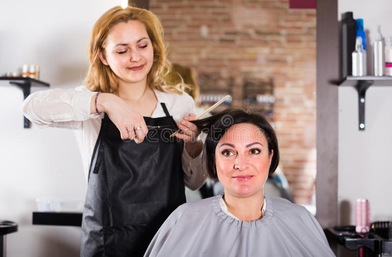Female hairdresser is doing hairstyle and cut by means of scissors royalty free stock image