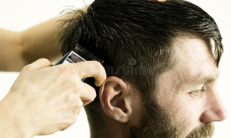 Female hairdresser shaping mens hair cutting uses scissors in a beauty saloon royalty free stock image