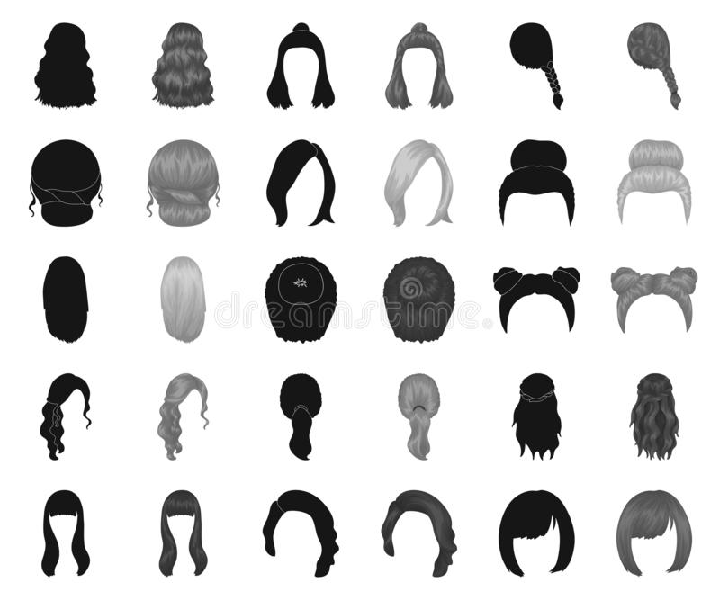 Female hairstyle black,monochrome icons in set collection for design. Stylish haircut vector symbol stock web vector illustration