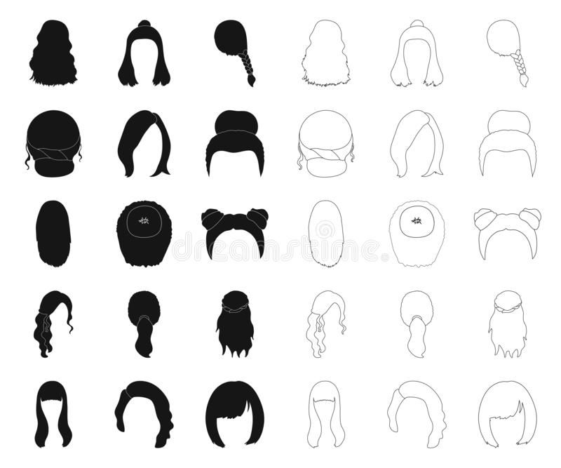 Female hairstyle black,outline icons in set collection for design. Stylish haircut vector symbol stock web illustration. stock illustration